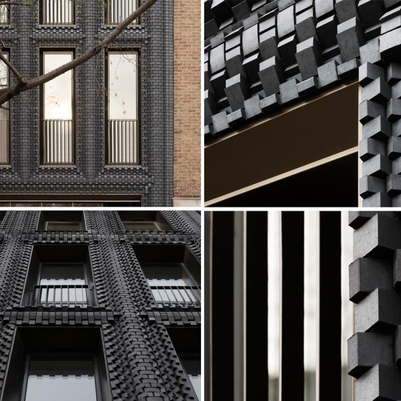 Фасад из черного кирпича